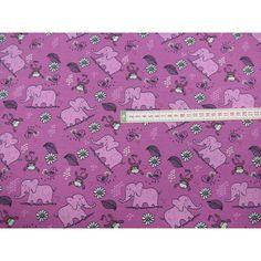 Baumwolljersey rosa Elefanten und Affen