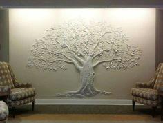 Ideas for plaster tree sculpture artist portfolio Family Tree Mural, Tree Wall Murals, Tree Wall Art, Mural Art, Tree Art, Tree Wallpaper Mural, Clay Wall Art, Plaster Art, Plaster Walls