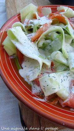 salade,concombre,aneth,saumon fumé,truite,crème,facile,rapide,fraîcheur,estivale,croquant,frais