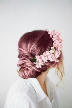 pink hair flowers