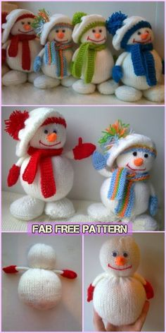 Knit Snowman Free Patterns Knit Snowman Free Patterns Learn the fact (generic term) of how to needle Knitted Dolls Free, Knitted Doll Patterns, Animal Knitting Patterns, Diy Free Knitting Patterns, Crochet Patterns, Free Christmas Knitting Patterns, Knitted Christmas Decorations, Christmas Toys, Knit Christmas Ornaments