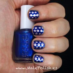 A shimmery, deep royal blue dotted with lavender chrome | Male Polish(es)