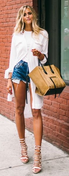 A shirt dress with a twist: wear one over a pair of denim shorts with sandals. Via Janni Delér  Shirt: Lindex, Top: Nelly, Shorts: Levis, Shoes: Public Desire