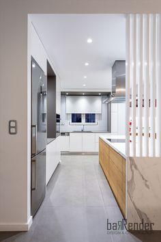 Modern kitchen entrance - Island - Ribs - Grey - Wood - White Grey Wood, Ribs, Entrance, Kitchen Cabinets, Construction, Island, Modern, Projects, Design