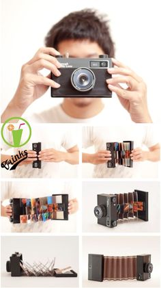 """Diy """" Camera """" album for pictures Cute Gifts, Diy Gifts, Diy Pinterest, Diy And Crafts, Paper Crafts, Diy Birthday, Diy Cards, Boyfriend Gifts, Mini Albums"""