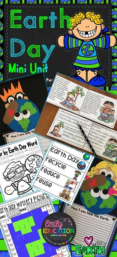 Earth Day Activities: Craft, writing, close readers, recycling, lesson plan layout, color by sheets, Earth Day Mystery Picture, Vocab Words, and more! Made by Emily Education Creativity for the Classroom