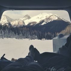 warm bed. pretty girl. snowy mountains. perfect escape.