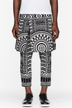 KTZ Black & White Tattoo Embroidered Layered lounge pants