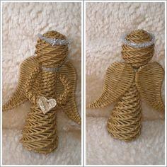 Andílek - návod Straw Weaving, Paper Weaving, Weaving Art, Basket Weaving, Christmas Baskets, Christmas Crafts, Diy Paper, Paper Art, Use E Abuse