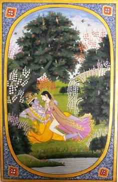 Radha makes love to Krishna in a grove Kangra school, c. 1820 An illustration to the Rasikapriya of Keshav Das Mughal Paintings, Indian Paintings, Krishna Avatar, Indian Folk Art, India Art, Indian Gods, Art And Architecture, Illustration, Artwork