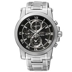 Seiko Mens SNAF31P1 Premier Alarm Chronograph Black Dial Stainless Steel Watch * Visit the image link more details.