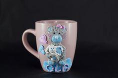 Polymer clay cup, handmade, pastel teddy bear