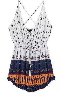 Vestido floral sin espalda con tirante-blanco y azul marino 16.26