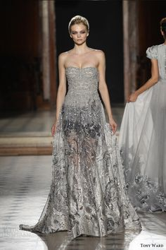 tony ward couture fall winter 2015 2016 look 38 strapless silver metallic haute couture dress sheer skirt