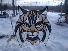 wildcat logo Example stained glass by UpNorthSuncatchers on Etsy, $100.00