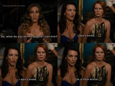 Sex the city SATC Charlotte York, Miranda Hobbes, Carrie Bradshaw Drunk Charlotte is the best lol City Quotes, Movie Quotes, Charlotte York Quotes, Charlotte York Goldenblatt, Single Women, Single Ladies, Funny Pictures, Funny Pics, Funny Stuff