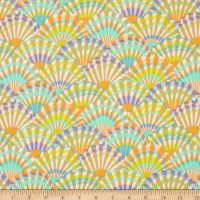 Kaffe Fassett, multi-colored pastel fans with purple, orange and aqua on brown and white broadcloth, cotton, Free Spirit Fabrics, Paper Fans, Home Decor Fabric, Fabric Paper, Fashion Fabric, Printed Cotton, Accent Decor, Fabric Design, Quilts