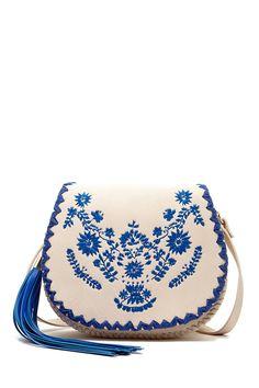 Bolsa de couro bordada em estilo folk Cruz Crossbody