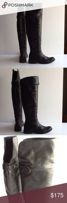 """Frye Shirley Over the Knee Riding Boots. 1+"""" Heel My rodeo days are over. Worn once. Runs big. Black leather with belting detail and fold over cuff for versatile look.  Round toe, inside zip, shaft 21+"""" at side, circumference 15"""", leather lining, leather n rubber sole, antique metal hardware. Frye Shoes Over the Knee Boots"""