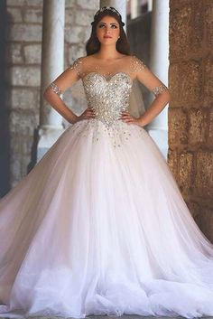 High Quality Shining Beading Corset with Sheer,Long Sleeves .- High Quality Shining Beading Corset with Sheer,Long Sleeves Ball Gown Wedding Dresses Size Tulle Wedding Gowns - Tulle Wedding Gown, 2016 Wedding Dresses, Princess Wedding Dresses, Wedding Dresses Plus Size, White Wedding Dresses, Bridal Dresses, Dresses 2016, Bling Wedding, Gowns 2017
