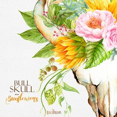 This set of high quality hand painted watercolor bull skulls with sunflowers bouquets Perfect graphic for wedding invitations, greeting cards, photos, posters, quotes and more. Item details: 7 PNG files. (300 dpi, RGB, transparent background) Skulls size (larger side) aprox.: 17 inch, 5100 px - 15 inch, 4500 px Bouquets size (larger side) aprox.: 14 inch, 4200 px - 7 inch, 2100 px ---------------------------------------------------------------- all sets with s SUNFLOWERS: https:/...