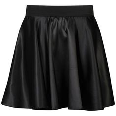 Influence Women's Satin Skater Skirt (€17) ❤ liked on Polyvore featuring skirts, bottoms, saias, faldas, black, long skater skirt, circle skirt, black skirt, black circle skirt and black knee length skirt