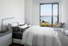 Evolo 2 - Chambre à coucher donnant sur le fleuve. Condominium, Contemporary, Bed, Furniture, Home Decor, Bedroom, Decoration Home, Stream Bed, Room Decor