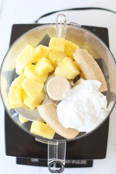 Homemade Pineapple Coconut Ice Cream-3 Ingredients.  Frozen Pineapple, frozen banana, and coconut milk.  That's it!
