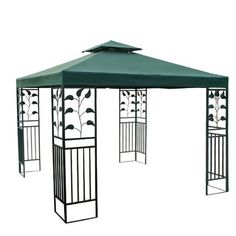 Green Patio Sun Shade 10x10 Ft Garden Canopy Gazebo Replacement Top . $69.99. PA Coating for Effective Harmful UV Blocking and Waterproof Performance. Zippered Ventilated Top with Mosquito Netting between Top and Lower Tier. Grommets to Ensure Proper Water Drainage. Reinforced Corners to Stand Years of Use. Velcro Attaching Tabs for Conveniently Fixing onto the Frames. Features:  Replacement Canopy Top for 10' x 10' Gazebo PA Coating for Effective Harmful UV Blocking and Wat...