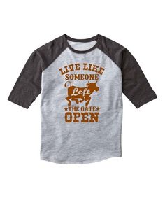 Look at this LC Trendz Athletic Heather & Black 'Gate Open' Raglan Tee - Kids on #zulily today!