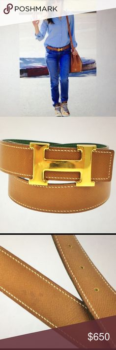 "🆕 Hermes H Logo Celebrities Reversible Belt Authentic Hermes H Logo , Gold Buckle, Reversible, camel and green leather, very good condition, comes with box. Measure: length: 28.3"" Buckle: 2.4"" size # 70 Hermes Accessories Belts"