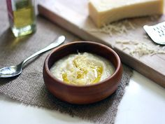 cauliflower soup with white truffle oil and gruyere