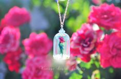 New Glow in the Dark Enchanted Red Rose in Glass Cloche Necklace Beauty and the… Disney Inspired Jewelry, Glass Globe, Vintage Lighting, Enchanted, Red Roses, Glow, Christmas Ornaments, Dark, Trending Outfits