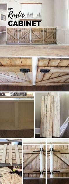 Rustically Repurposed Barn Door Cabinet