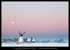 Rising Moon over Lytham Windmill © Andrew Stannard Blackpool Pleasure Beach, British Seaside, St Anne, Seattle Skyline, Mother Nature, Winter Wonderland, Countryside, Britain, Tower