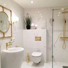 Bathroom Decor marble Bathroom bliss Love the clean white, marble, and the brass fixtures Bad Inspiration, Bathroom Inspiration, Interior Inspiration, Gold Bathroom, Small Bathroom, Brass Bathroom Fixtures, Bathroom Ideas, Bathroom Designs, Bathroom Canvas