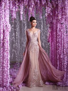 2016 Toumajean Couture Overskirt Evening Dresses V Neck Beaded Prom Gowns Floor Length Appliques Evening Dress Pink Evening Dress, Evening Dresses With Sleeves, Evening Dresses Online, Evening Dresses Plus Size, Bodycon Dress With Sleeves, Gowns Online, Formal Evening Dresses, Prom Dresses, Dress Online