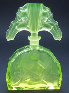 Uranium Glass Bohemian Art Deco Perfume Bottle | eBay