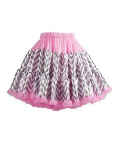 Loving this Light Pink & Gray Zigzag Pettiskirt - Infant, Toddler & Girls on #zulily! #zulilyfinds