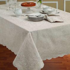 Lenox French Perle Embroidered Linen Blend Tablecloth | Overstock.com Shopping - The Best Deals on Tablecloths