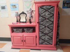 Repurposed entertainment center became a diva vanity!
