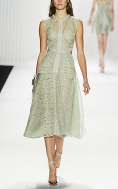 J. Mendel: Sleeveless Tea-Length Dress With Organza Overlay