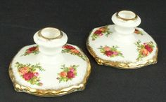 Pair of Royal Albert Old Country Roses Candle Holders 1962-73 VGC
