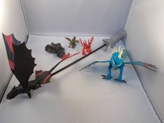 How to Train Your Dragon Figures Lot w/Night Fury Stick  #Dreamworks