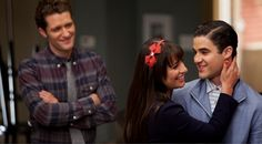 Rachel and Blaine on Glee. They would make a really cute couple.