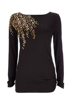 Black Embellished Top... This would be good for work or for a casual look.