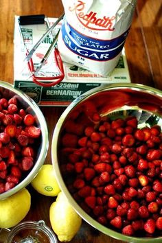 ingredients for homemade strawberry jam