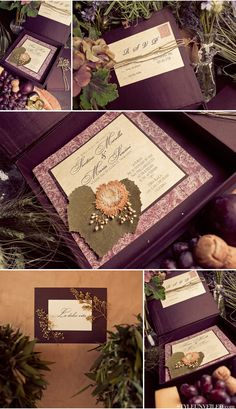 tea stained paper gives a rustic/vintage look.  (ignore the dried flowers, formal script, and invitation box instead of envelope)