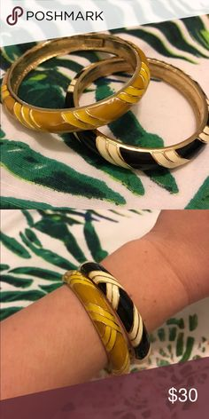 J crew enamel bangles Set of two, new/never worn J. Crew Jewelry Bracelets