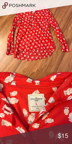 GAP button up shirt Red half button up shirt with owl print. Super cute. Longer in the back. Great condition. GAP Tops Button Down Shirts